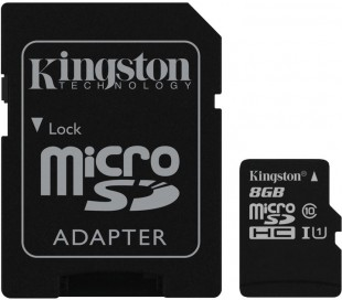 8GB microSDHC Kingston UHS-I U1 45R/10W